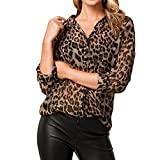 LAEMILIA Damen Langarmshirt Casual V Ausschnitt Bluse Oberteile 3D Aufdruck Leopard Print Tunika Luftig Freizeithemd Business Street Wear