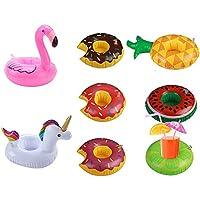 Branger Posavasos Piscina, Posavasos Sandía Safe PVC 8 Piezas Pool Cup Holders Unicorn Flamingo footable flotadores para la Fiesta en la Piscina de Verano Agua Diversión (Más Versión)