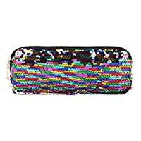 quanju cheer Shiny Sequin Zipper Makeup Case Girl School Pencil Pouch Clutch Purse Bag Gift Student Supplies - Multicolored