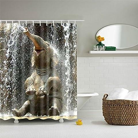 Stillshine Duschvorhänge, Tier Polyester wasserdicht Mehltau Duschvorhang Bad Zubehör Standardgröße 180 x 180 cm Bad Lieferungen einschließlich 12 Kunststoff-Haken (Elefant7)