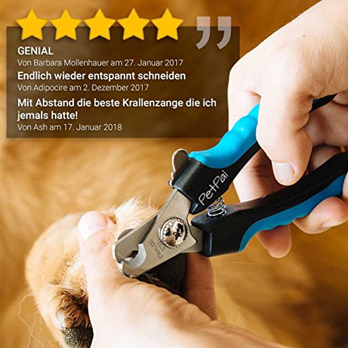 Professionelle Krallen-Schere von PetPäl Krallen-Zange in Tiersalon Qualität | Krallenschneider +2 Gratis Abstracts | DAS ideale WEIHNACHTS-GESCHENK | Krallenpflege für kleine, mittelgroße & große Hunde, Katzen, Kaninchen, Meerschweinchen & andere Nager | Pfotenschere mit Sicherheitsverschluss | Nagelpflege für alle Rassen | Nagelzange mit Sicherheits-Abstandhalter - 5