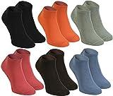 Rainbow Socks - Damen Herren Bunte Sneaker Bambus Socken - 6 Paar - Schwarz Orange Olive Braun Jeans Himbeere - Größen 39-41