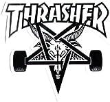 Thrasher Magazine Skate Goat Pentagram Skateboard Sticker 9 x 10cm White/Black