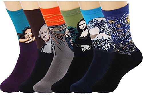 UClever Calcetines para Hombre, Pintura Famosa Medias Algodón Calcetín (6 Pares Estilo A)