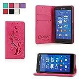 COOVY Funda para Sony Xperia Z3 Compact D5803 D5833 Billetera, Ranuras para Tarjetas, Cierre magnético, Soporte, Protectora de Pantalla | Flower | Color Rosa Fuerte