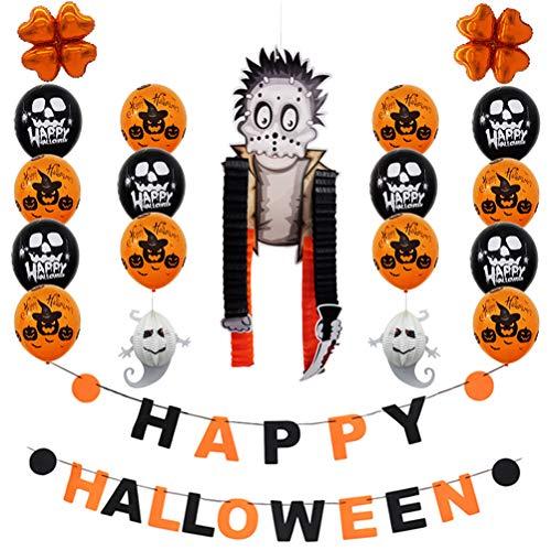 oween Buchstaben Banner Halloween Party Dekorationen Set Latex Ballons Banner Papier Hängende Ornamente Foto Requisiten (Zombie) ()