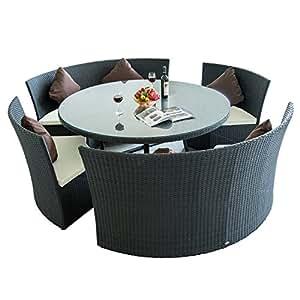 ENSEMBLE SALON JARDIN RÉSSINE TRESSÉ ROTIN TABLE RONDE+4 CANAPÉS MODULABLE AVEC VERRE TRAMPÉ NEUF 32