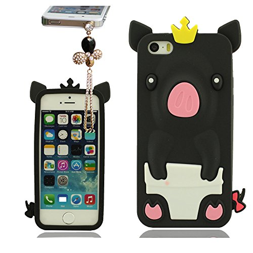 Coque pour iPhone 5 5S 5C 5G avec Joli Pendentif, Doux Silicone Gel Matériel, Animal Type 3D Mignon Porcin Série, étui de Protection Phone Case Skin Cover pour iPhone 5 5S 5C 5G Noir