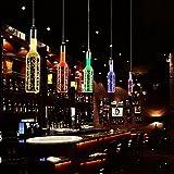 Vintage Crystal Bar Flasche Kronleuchter Lampe personalisierte creative Art LED Kristall lampe Restaurant Bar Cafe Restaurant 10 x 10 x 25 cm, Einzelkopf Rot