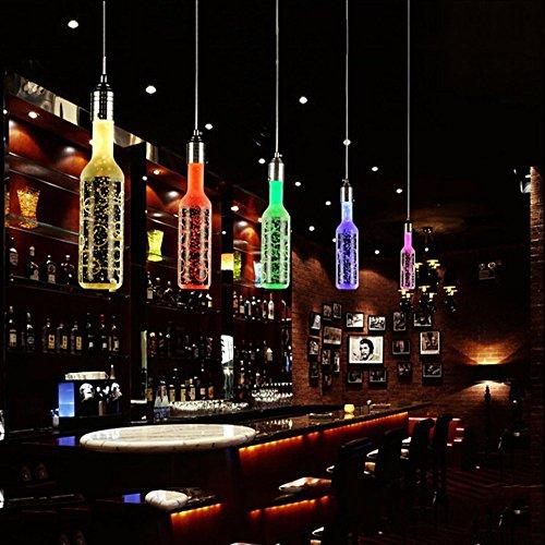 Vintage Crystal Bar Flasche Kronleuchter Lampe personalisierte creative Art LED Kristall lampe Restaurant Bar Cafe Restaurant 10 x 10 x 25 cm, Einzelkopf rosa (Rosa Flasche Personalisierte)