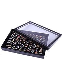 Tonsee® Bijoux Bagues Affichage Plateau velours 100 Slot case à bijoux boîte de Rangement