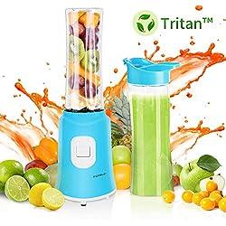 Aigostar Sky 30IWX - Mini blender mixeur portable pour smoothies, milk-shakes et jus de fruits sans BPA. Puissance de 350W. Inclus 2 verres en Tritan de 600 ml et 2 couvercles.