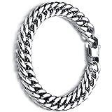 Stainless Steel Bracelet Heavy Metal Masculine Mesh Chain High Polished Link Chain Bracelet (20cm*8mm)