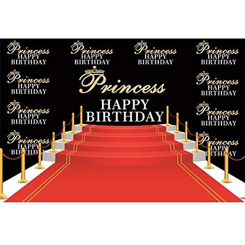 Cassisy 2,2x1,5m Vinyl Geburtstag Fotohintergrund Prinzessin Alles Gute zum Geburtstag Banner Krone Roter Teppich Schritt Fotoleinwand Hintergrund für Fotoshoot Fotostudio Requisiten Party Photo Booth