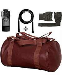 Brown Leather Gym Bag , Gym Gloves, Black Skipping Rope And Black Cyclone Shaker Shaker Bottle Combo Pack For...