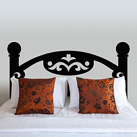 Cabecero de cama adhesivo pared de pizarra de madera para pared vinilo decoración de la pared clásico cabecero de cama cabecero de cama sala de pared gráfico arte decoración, vinilo, negro,