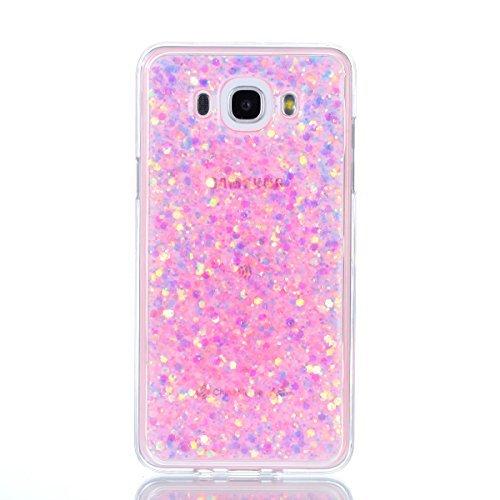 Moonmini Samsung Galaxy J7 (2016) J710 2 in 1 Hybrid Dual Layer Soft TPU Inner Bumper Protective Sparkle Shiny Bling Glitter Shine Cover Hexagonal Star Pattern Shiny Soft Gel TPU Silicone Silver