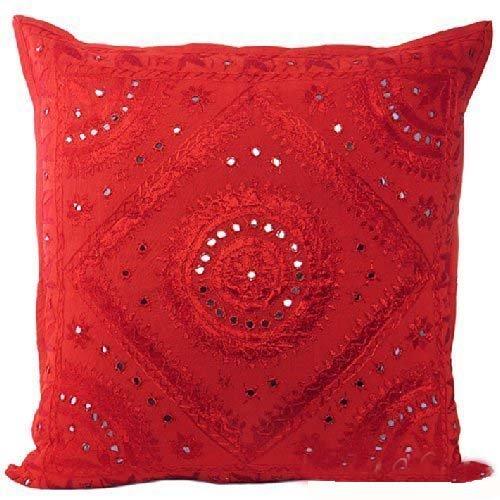 Indio Étnico hecho a mano cojín funda de almohada con bordado y espejo trabajo 16x 16pulgadas
