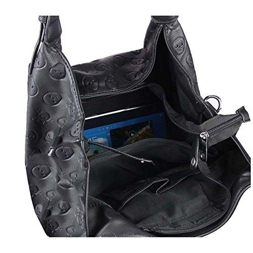 OBC DAMEN TOTENKOPF RUCKSACK TASCHE Strasssteine Glitzer Cityrucksack Schultertasche Handtasche Stadtrucksack BackPack Daypack Gothic Stil (Schwarz 27x28x14 cm) 2xHenkel 39x32x20