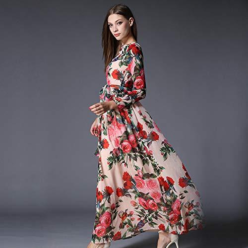 ZYLY Frau Chiffon Langes Kleid Rose Floral Overlay Print Kleid weibliche Schärpen Herbst Vintage Langarm Plissee Kleid,Lavender,S -