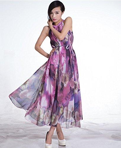 medeshe Femme Légère Motif floral été Robe d'été en mousseline de soie style Boho Maxi robe Violet - Violet