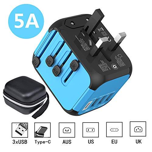 PUNIAJI Weltweit Reiseadapter,3 USB Anschlüsse mit 5 A High Speed Ladegerät und 1 3,0 A Typ C International Wall Charger All in One Universal Adapter für Handys und Tablets