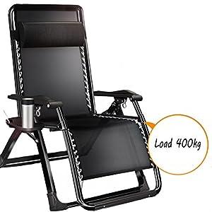 L&J Sedia Relax,Pieghevole sedie a Sdraio reclinabile Regolabile con poggiatesta per Ufficio Spiaggia all'aperto Piscina Giardino Cortile Balcone Picnic-carico 400kg,Regolabile-A