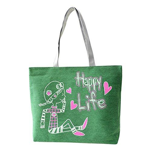 Hrph Reizender Kaninchen-Canvas Handtasche Preppy Schultasche für Mädchen-Frauen-Handtaschen , nette Taschen green