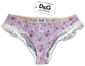 """DOLCE & GABBANA D&G """"Springtime"""" femme slip floral avec de la dentelle tulle (violet/blanc)"""