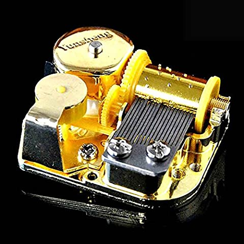 VANKER Movimiento de bricolaje chapado en oro de viento de hasta caja de música Cinco canciones para elegir bella