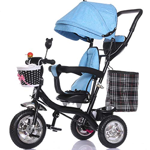 Pieghevole passeggino per bambini triciclo reclinabile per bimbo passeggino per bicicletta 1-2-3 tondo per biciclette di 6 anni (color : blue)