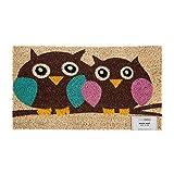 Homescapes Schmutzfangmatte Fußmatte Owl Love 45 x 75 cm (Breite x Länge) Türmatte aus 100% Kokosfaser mit rutschfestem Gummirücken strapazierfähiger Fußabtreter