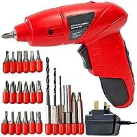 Spares2go Mini Cordless Rechargeable Electric Screwdriver Bit Set + Drill