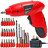 SPARES2GO Mini Cordless Rechargeable Electric Screwdriver Bit Set + Drill