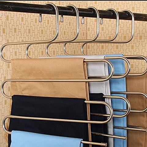 Homeself Monture en acier inoxydable multi-usage pour Magic Pantalon Cintres Cintres pour économiser de l'espace dans votre Placard de rangement pour suspendre Jeans, pantalon, foulard, Cravate, serviettes, manteau