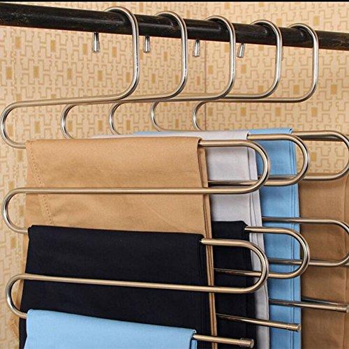 Perchas multiusos tipo S de acero inoxidable, para pantalones, vaqueros, bufandas, corbatas, toallas y abrigos, percha para ahorrar espacio de almacenamiento en el armario, de Homeself