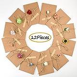 Fepito 12 Stück DIY handgemachte Retro Kraftpapier Danke Karten Gruß Grußkarten mit 12 handgemachten Blumen und Aufklebern