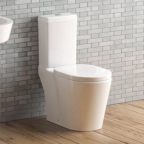 Modern White Ceramic Toilet Close Coupled Pan & Cistern Bathroom Set CT21