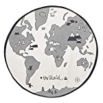 junkai Baby Nursery Rug Mat,Soft cloth Infant World Map Playmat Blanket play Mat Round Lace Activity Pad Carpet Floor Rug for Home Kids Decoration Bedroom Gift