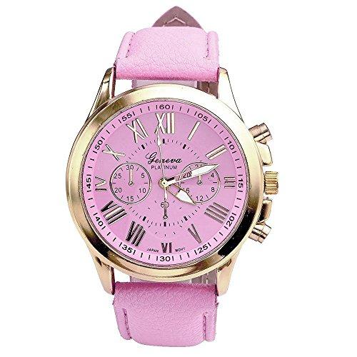 Ularma Geneva romano números de mujeres imitación cuero reloj de cuarzo analógico (rosa)