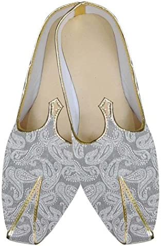 INMONARCH Hombres Zapatos de Boda India Exclusiva de Plata MJ0175