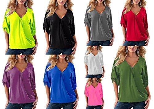 Bigood Femme T-shirt Chiffon Blouse V Col Mousseline Chemise Asymétrie Uni Violet
