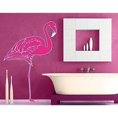 Adesivo da parete No. IS48Flamingo Mare Spiaggia Zoo selvaggia rosa, arancione, 90x59 cm