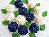 NAVY blau & weiß rose Bouquet, mit Blättern und Perlen–Essbare Kuchen Dekorationen
