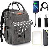 Zaino per pannolini per borsa per fasciatoio - Zaino da viaggio impermeabile GVDV con cinghie e fasciatoio per passeggino, porta di ricarica USB, grande capacità per mamma e papà, grigio