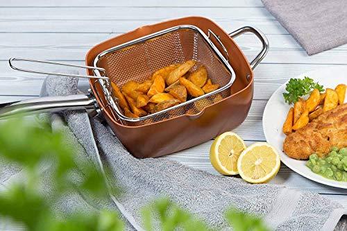 Lot de 5 poêles carrées 5 en 1 avec revêtement en cuivre et base à induction - Cocotte 24,1 cm - Couvercle en verre - Panier à frire - Support vapeur - Livre de recettes