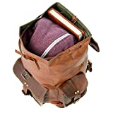 "15"" Mens Womens Genuine Leather Backpack Rucksack Laptop Collage Bag 4"