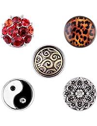 Morella mujer small Click-Button Set 5 pcs de presión 12 mm Yin Yang con diámetro de Buda y el Leoprint
