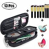 MLMSY Make-up-Tasche für Frauen mit Spiegel Beauty Make-up Pinsel Taschen Reise-Kit Organizer Kosmetiktasche Professional Multifunktions 2 Layer Organizer (schwarz) (D:13 PCS)