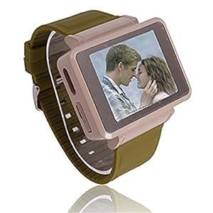 K1 caméra espion quad bande FM écran tactile montre-bracelet téléphone portable avec lampe de poche café